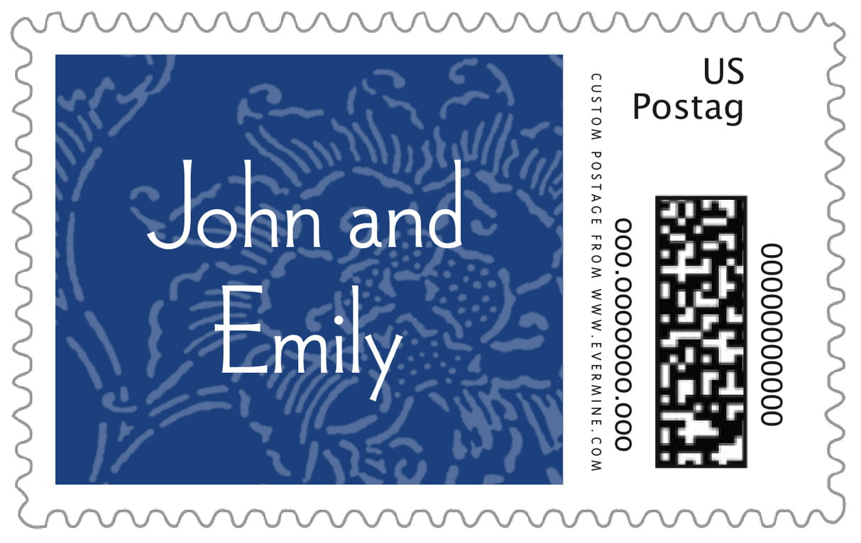 custom large postage stamps - deep blue - persimmon flower (set of 20)