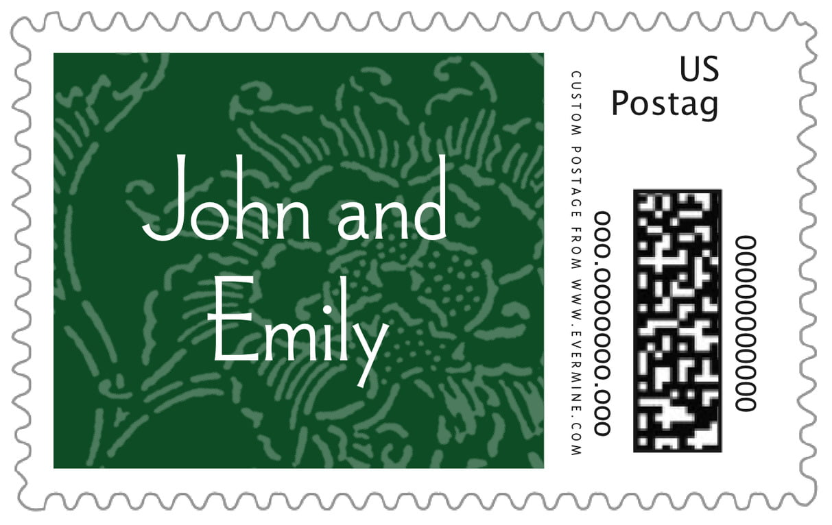 custom large postage stamps - deep green - persimmon flower (set of 20)
