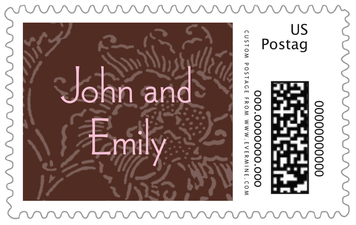 custom large postage stamps - cocoa & pink - persimmon flower (set of 20)