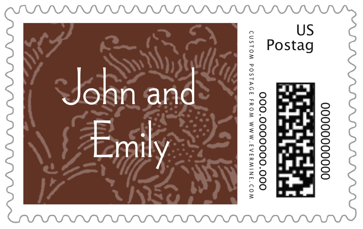 custom large postage stamps - chocolate - persimmon flower (set of 20)