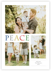 Peace Greeting Photo Cards - Vertical In Rainbow