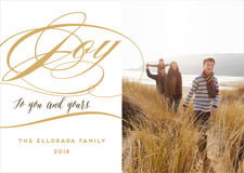 holiday cards - pale gold - scripted joy (set of 10)