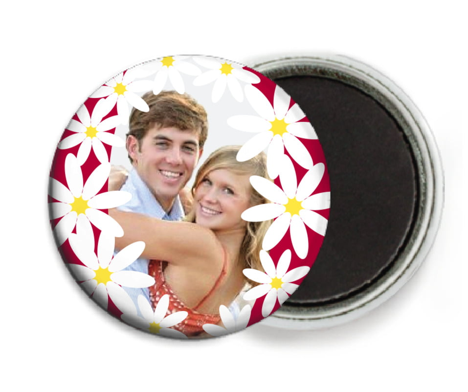 custom button magnets - deep red - dreaming daisies (set of 6)