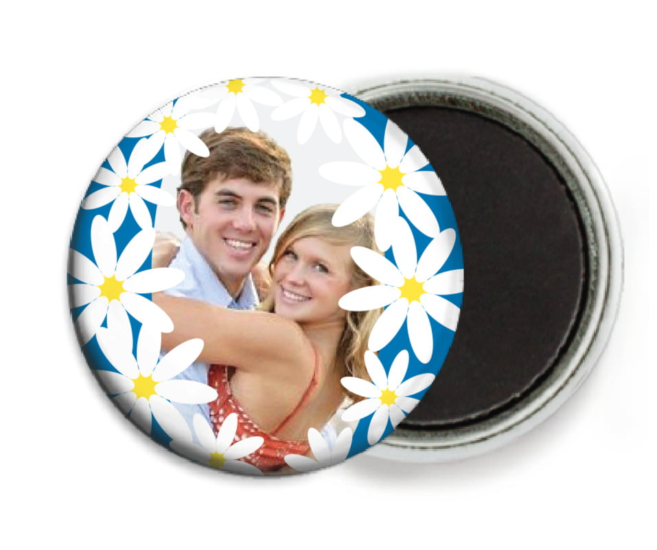 custom button magnets - blue - dreaming daisies (set of 6)