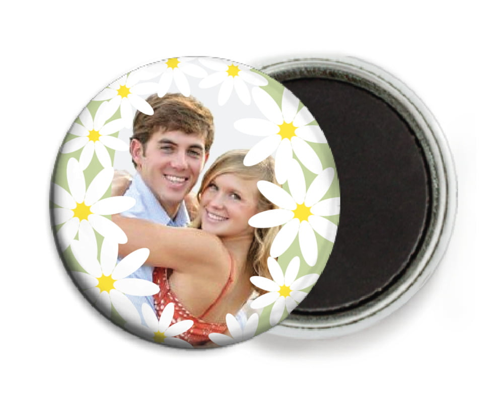 custom button magnets - green tea - dreaming daisies (set of 6)