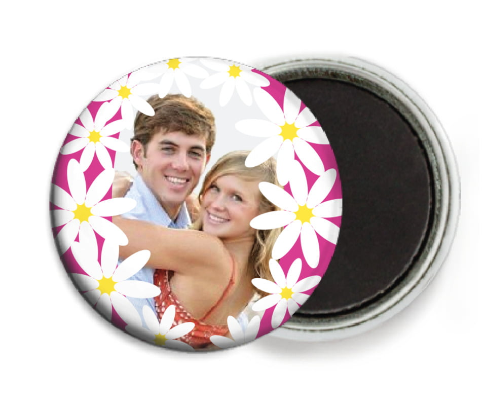 custom button magnets - bright pink - dreaming daisies (set of 6)