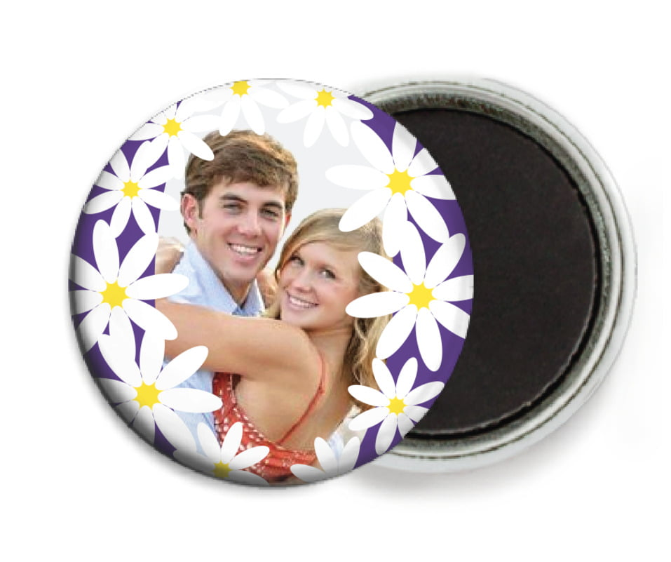 custom button magnets - plum - dreaming daisies (set of 6)