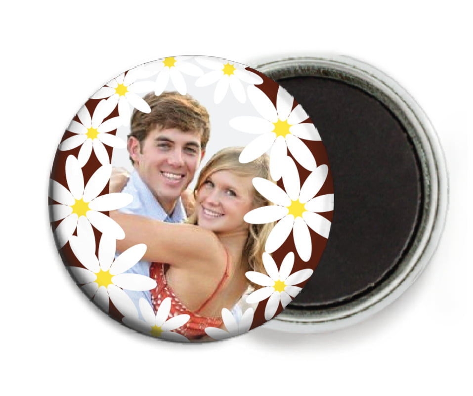 custom button magnets - cocoa & pink - dreaming daisies (set of 6)
