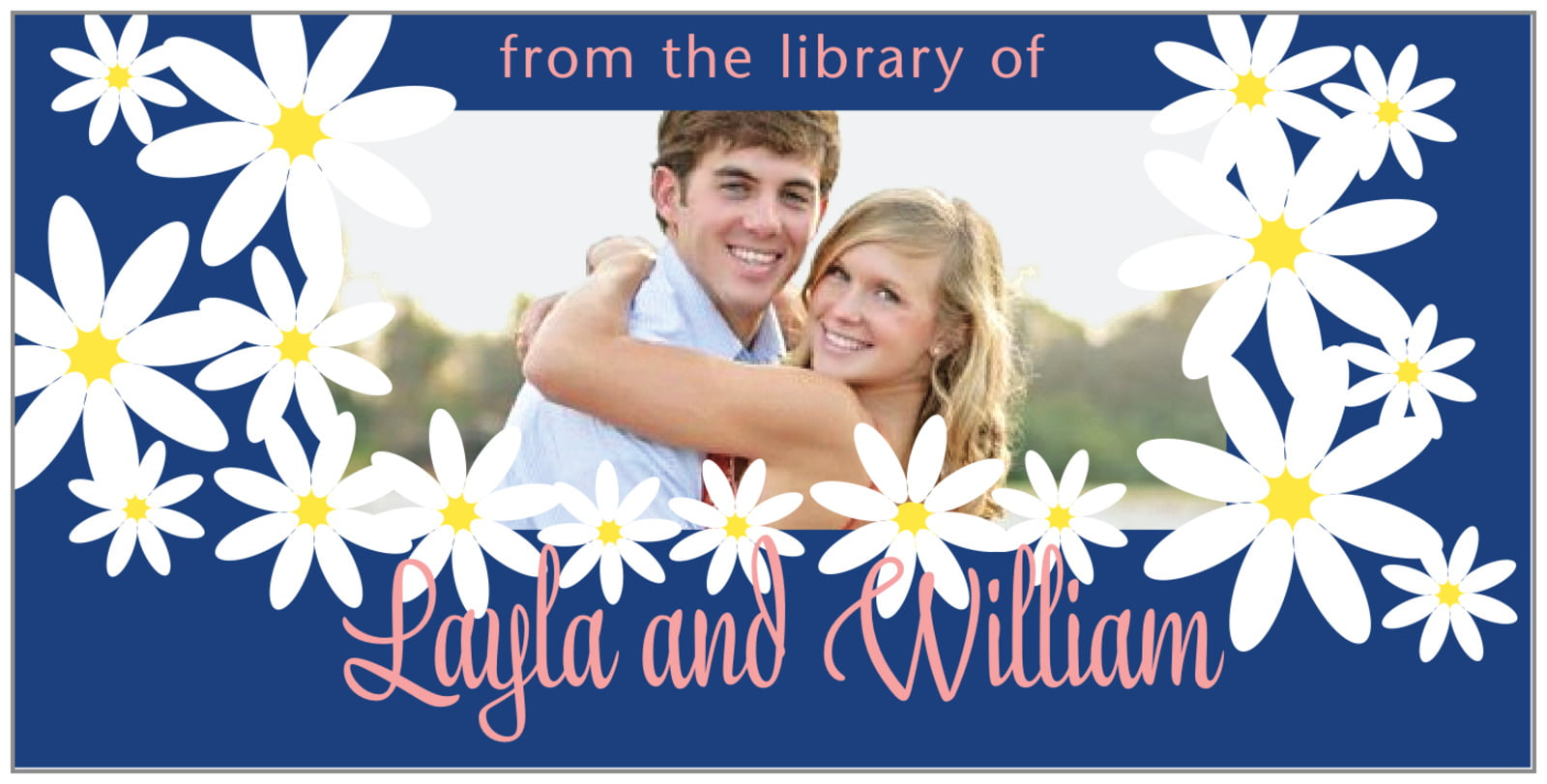 bookplates for everyone - deep blue - dreaming daisies (set of 24)