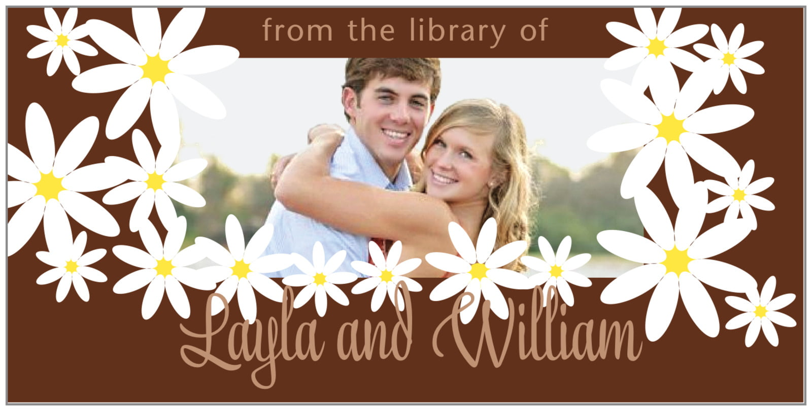 bookplates for everyone - chocolate - dreaming daisies (set of 24)