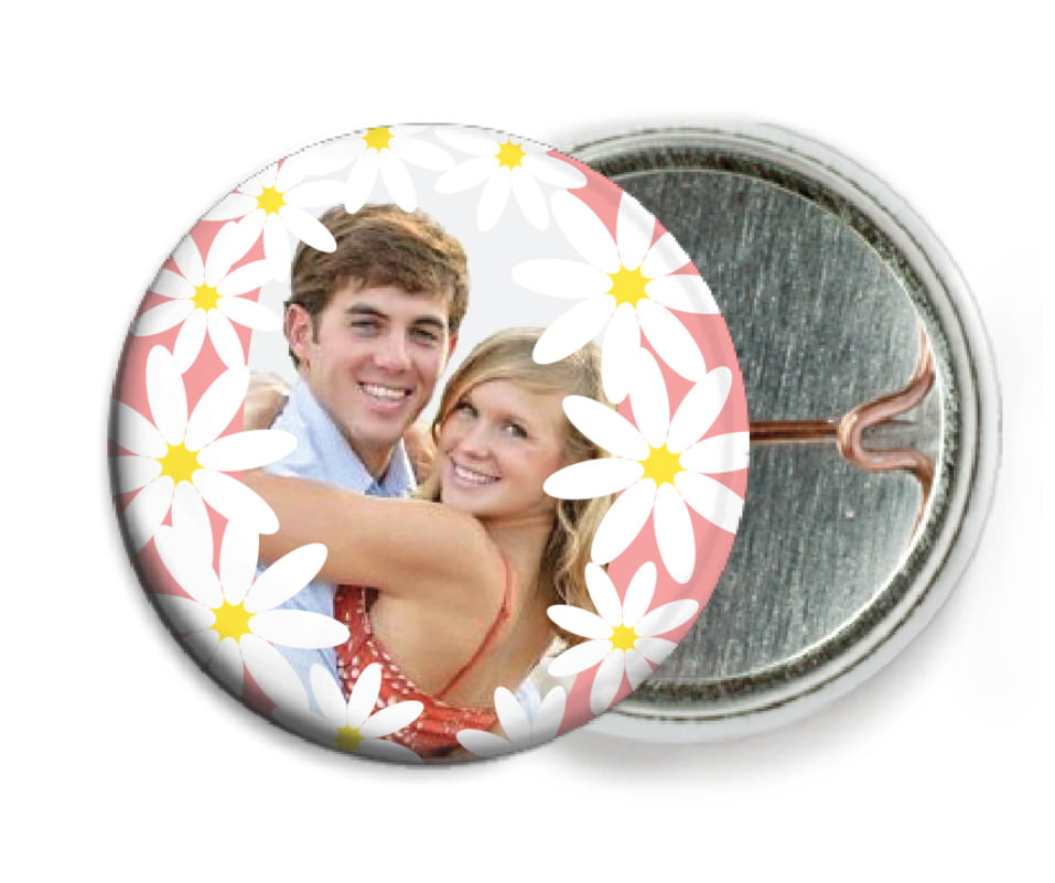 custom pin back buttons - grapefruit - dreaming daisies (set of 6)