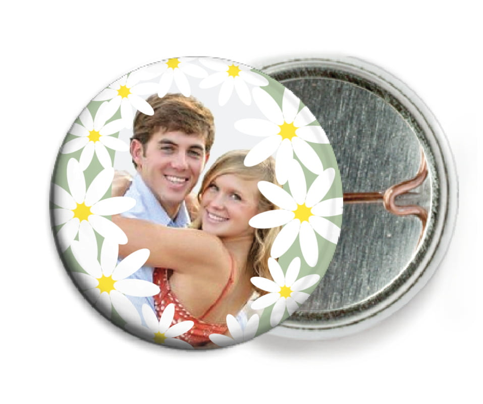 custom pin back buttons - sage - dreaming daisies (set of 6)