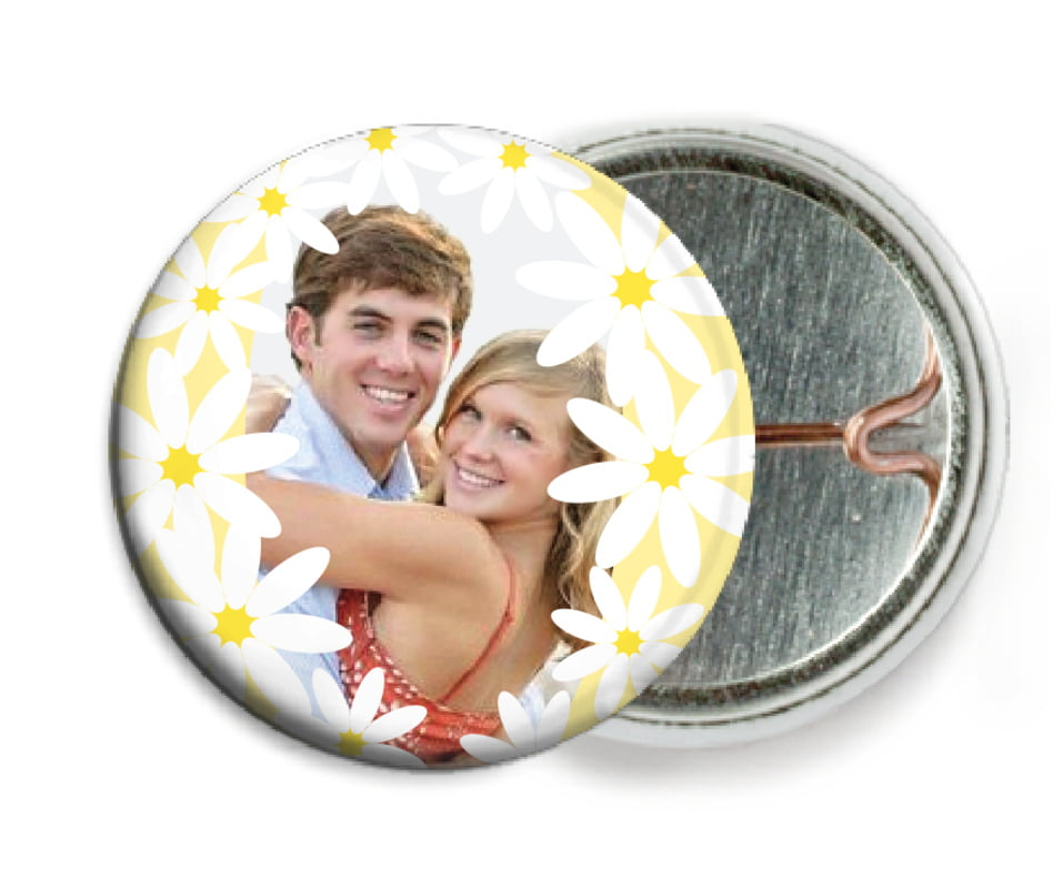custom pin back buttons - sunflower - dreaming daisies (set of 6)