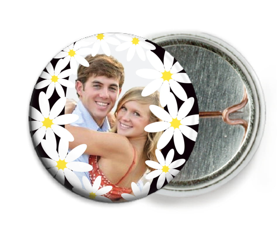 custom pin back buttons - tuxedo - dreaming daisies (set of 6)