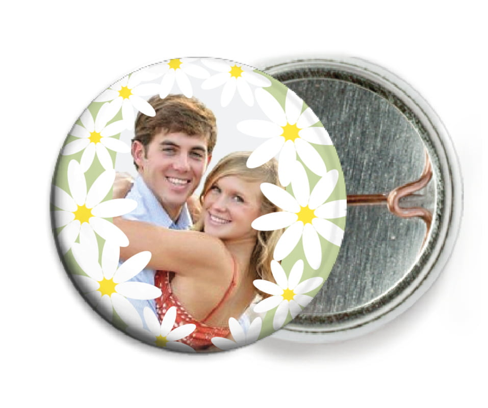 custom pin back buttons - green tea - dreaming daisies (set of 6)