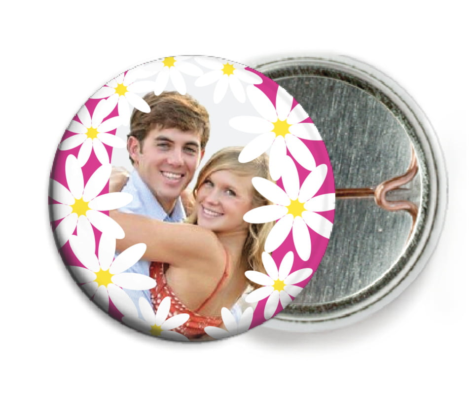 custom pin back buttons - bright pink - dreaming daisies (set of 6)