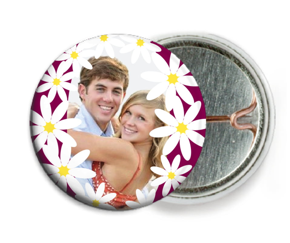 custom pin back buttons - burgundy - dreaming daisies (set of 6)