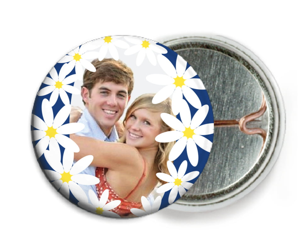custom pin back buttons - deep blue - dreaming daisies (set of 6)