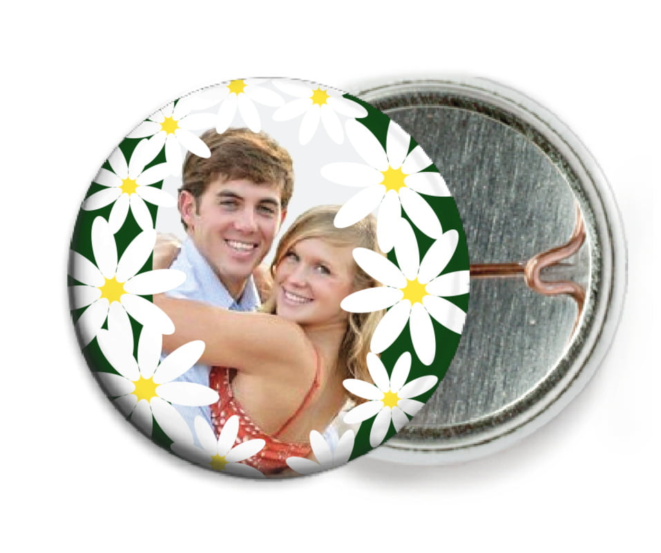 custom pin back buttons - deep green - dreaming daisies (set of 6)