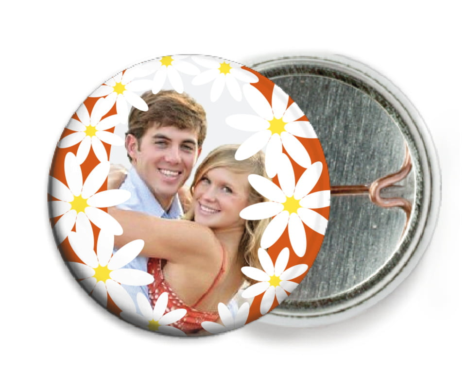 custom pin back buttons - spice - dreaming daisies (set of 6)