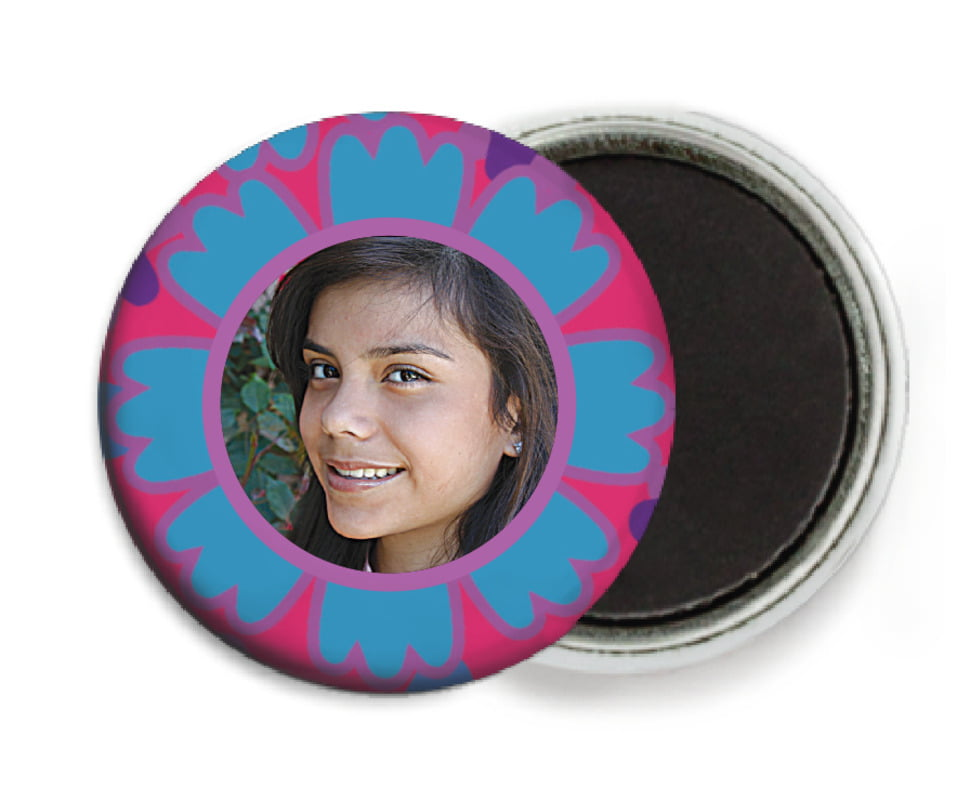 custom button magnets - blue - posies (set of 6)