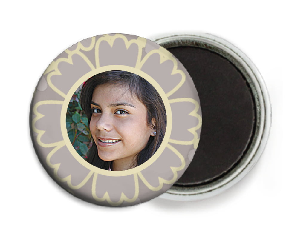 custom button magnets - grey - posies (set of 6)