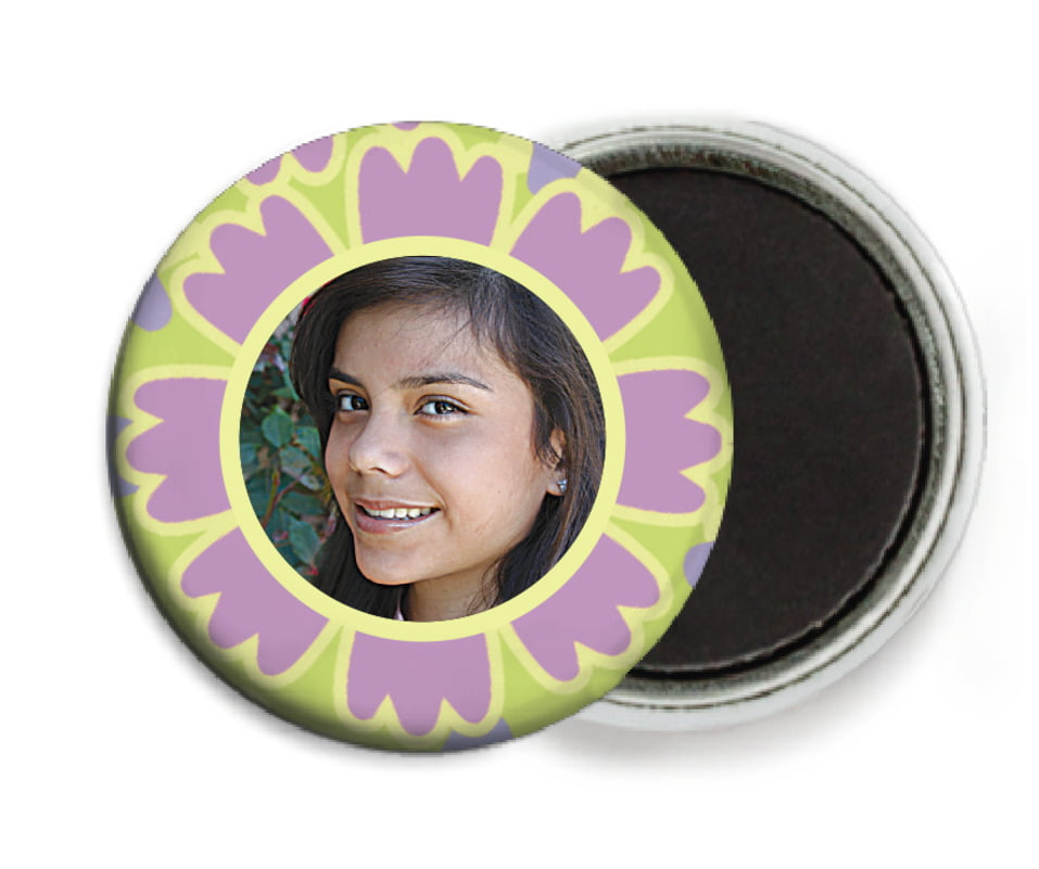 custom button magnets - lilac - posies (set of 6)