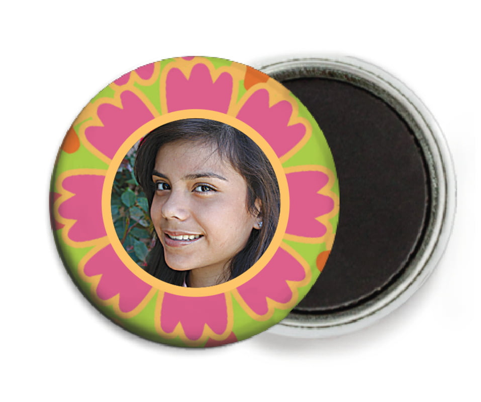 custom button magnets - bright pink - posies (set of 6)