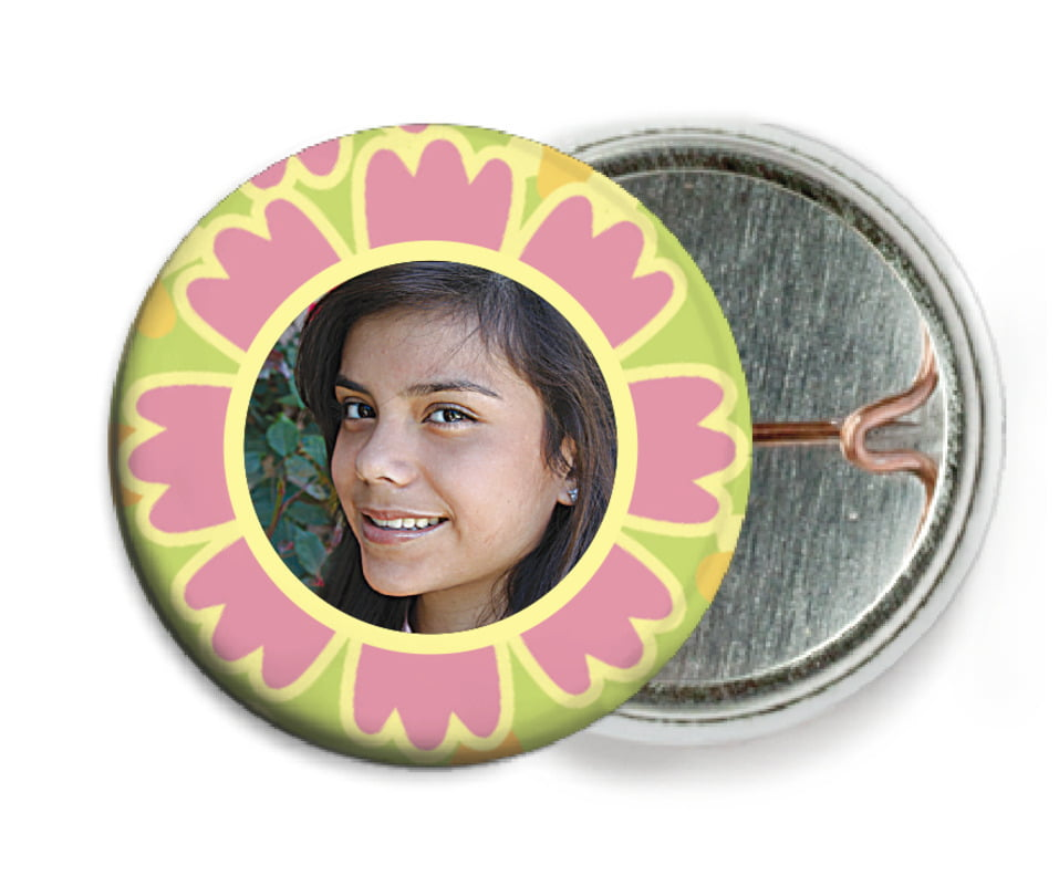 custom pin back buttons - grapefruit - posies (set of 6)
