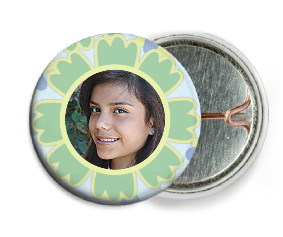 custom pin back buttons - sage - posies (set of 6)