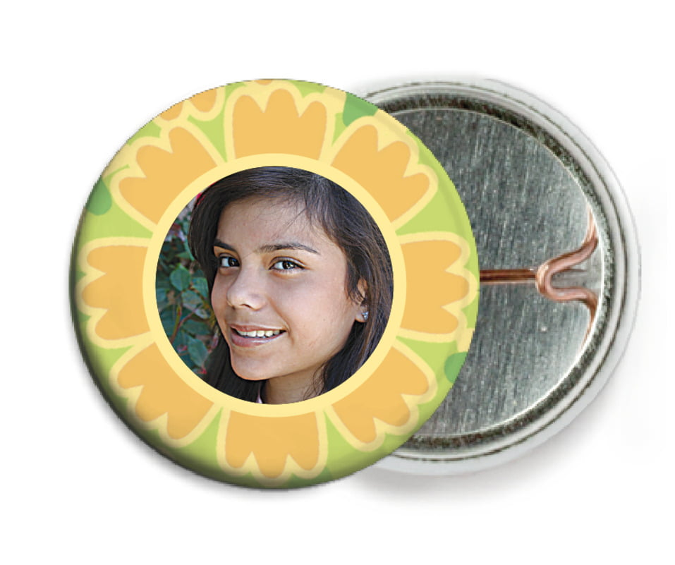 custom pin back buttons - sunburst - posies (set of 6)