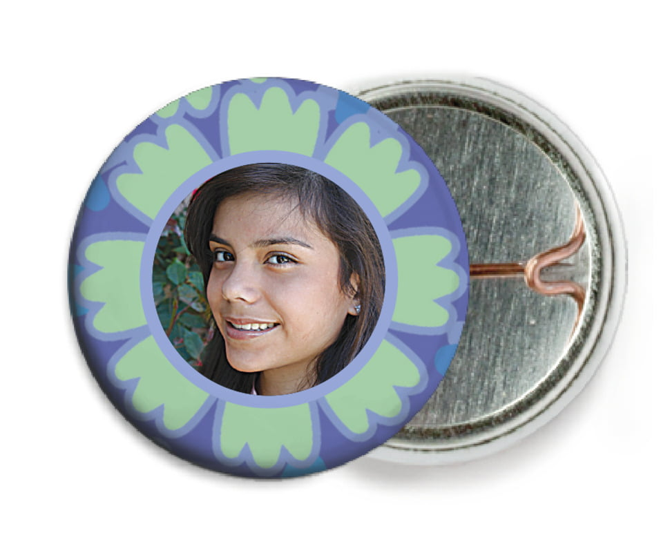 custom pin back buttons - green tea - posies (set of 6)