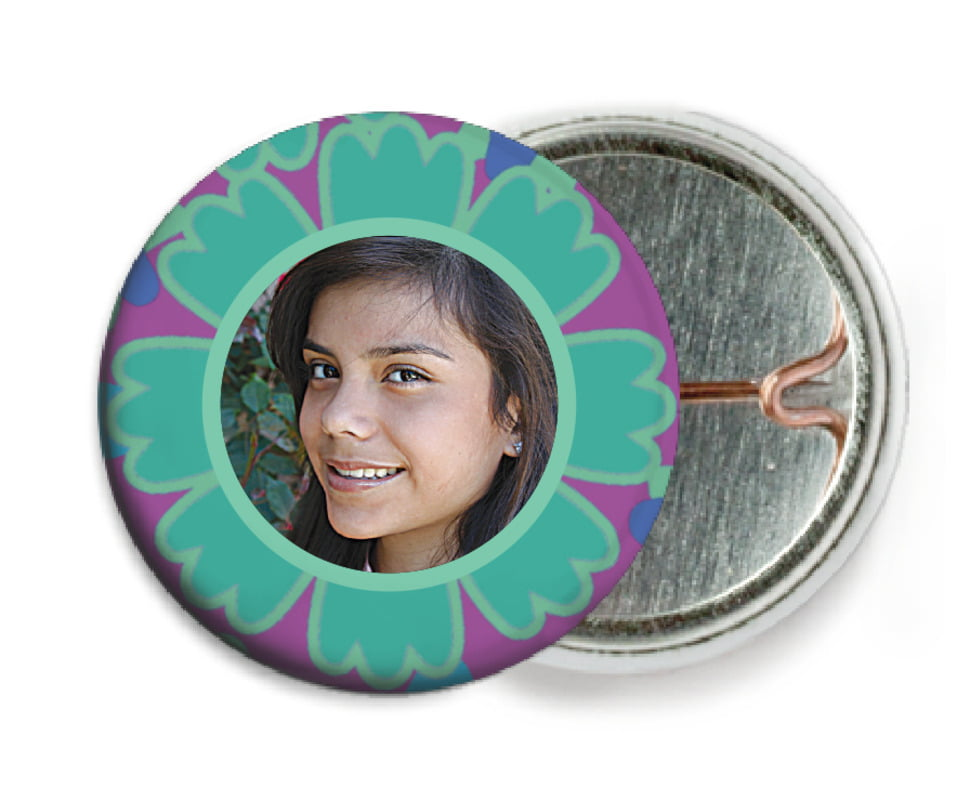 custom pin back buttons - aruba - posies (set of 6)
