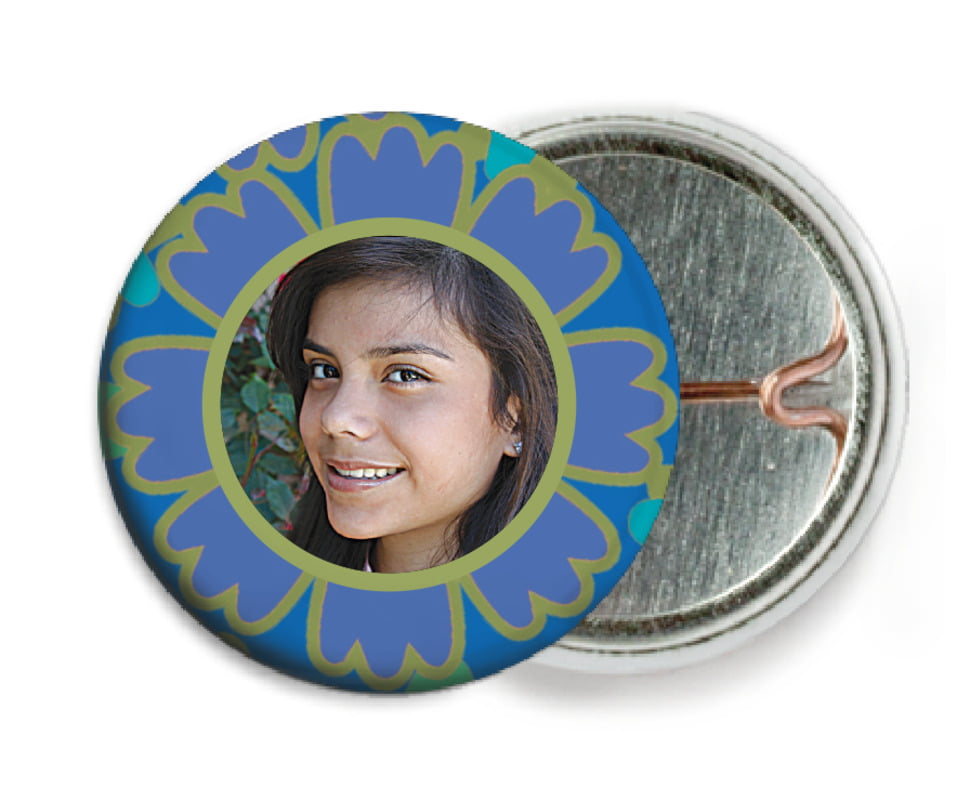 custom pin back buttons - deep blue - posies (set of 6)