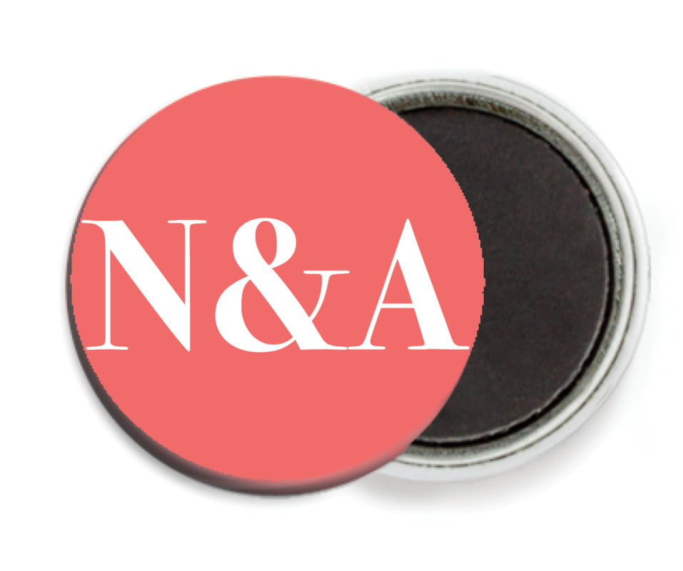 custom button magnets - deep coral - picture perfect (set of 6)