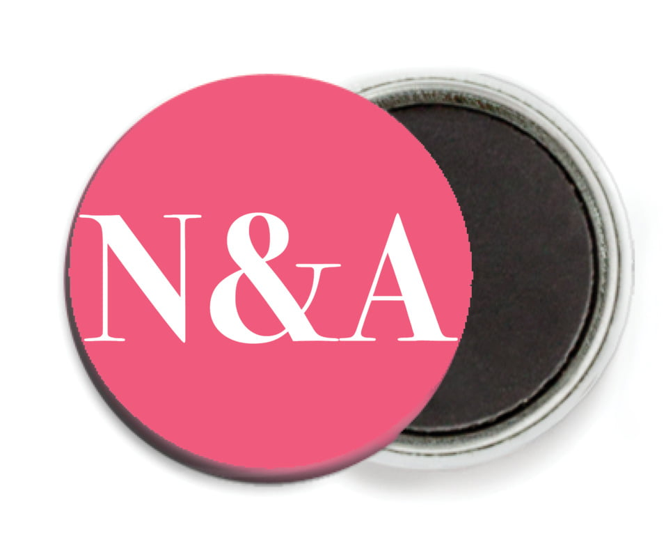 custom button magnets - bright pink - picture perfect (set of 6)
