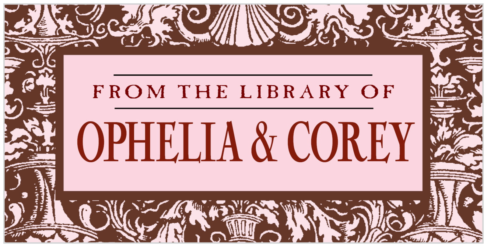 bookplates for everyone - cocoa & pink - provencale (set of 24)