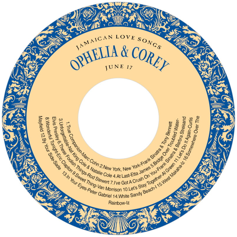 baby cd/dvd labels - blue & gold - provencale (set of 12)