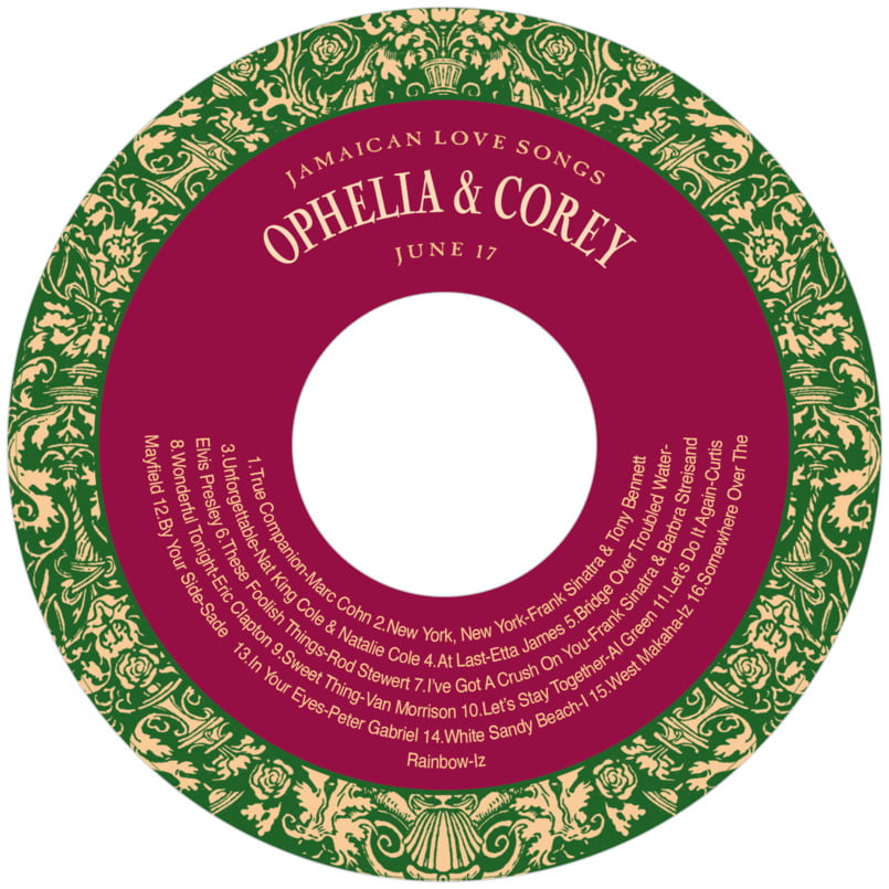 baby cd/dvd labels - deep green & wine - provencale (set of 12)