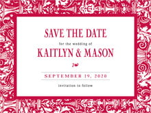 custom save-the-date cards - deep red - provencale (set of 10)