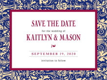 custom save-the-date cards - indigo & wine - provencale (set of 10)