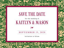 custom save-the-date cards - deep green & wine - provencale (set of 10)