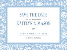 custom save-the-date cards - blue - provencale (set of 10)