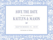 custom save-the-date cards - periwinkle - provencale (set of 10)
