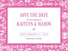 custom save-the-date cards - bright pink - provencale (set of 10)