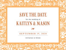 custom save-the-date cards - tangerine - provencale (set of 10)