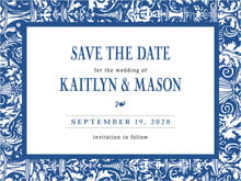 custom save-the-date cards - deep blue - provencale (set of 10)