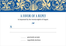 custom response cards - blue & gold - provencale (set of 10)