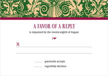 custom response cards - deep green & wine - provencale (set of 10)