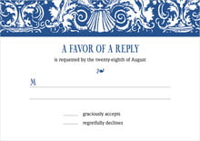 custom response cards - deep blue - provencale (set of 10)